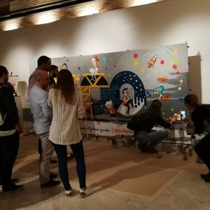 Evento con graffiti colaborativo en Madrid