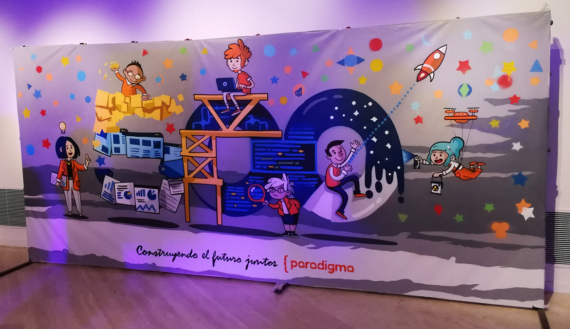 Graffiti en directo en evento de Paradigma Digital