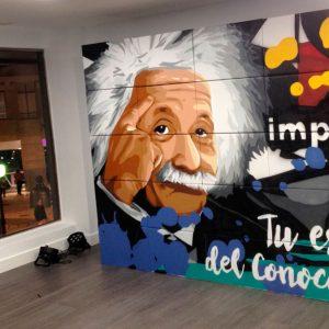Graffiti de Albert Einstein en Implika Bilbao.